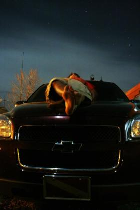 Laying on my hood under the stars