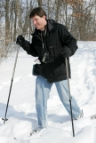 (Sunday February 9th 2014 - Heritage Park, Farmington Hills MI - Nature Center) Paul Messing of Sterling Heights treks through the snow with his snowshoes Sunday at Heritage Park. Photo by: Brian B. Sevald