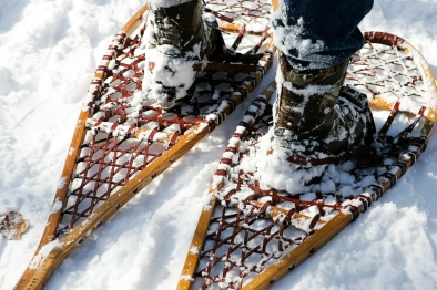 (Sunday February 9th 2014 - Heritage Park, Farmington Hills MI - Nature Center) Art Mikkola sports hisi Michigan Made Iverson snowshoes during the snowshoe trek outside the Nature Center in Heritage Park in Farmington Hills. Photo by: Brian B. Sevald
